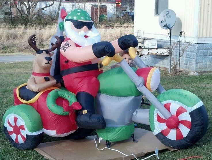 Christmas Santa Motorcycle Biker Sidecar Reindeer