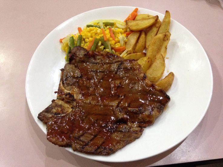 T-Bone steak  Half sirloin and tenderloin