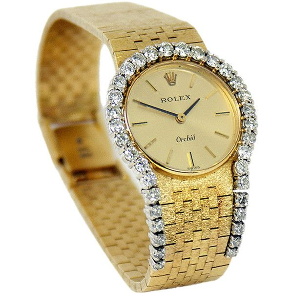 Ladies Dress Rolex Watch with Diamond ($8,000) ❤ liked on Polyvore featuring jewelry, watches, golden watches, rolex watches, rolex wrist watch, diamond watches and rolex