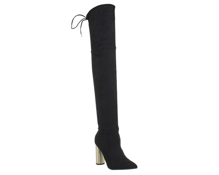 Office Kandy Shop Over The Knee Boots Black Gold Heel