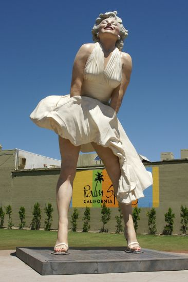 It's not a mirage. This 26-foot tall Marilyn catching the breeze in downtown Palm Springs is 34,000-pounds of real.