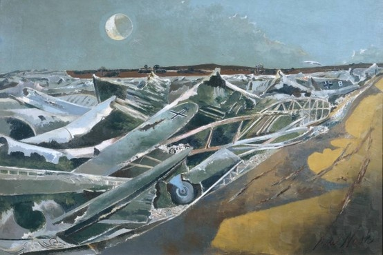Paul Nash This painting, the title of which is German for 'dead sea', was inspired by a dump of wrecked aircraft at Cowley in Oxfordshire. Nash based the image on photographs he took there, a few of which are on display nearby.The artist described the sight: 'The thing looked to me suddenly, like a great inundating sea ... the breakers rearing up and crashing on the plain. And then, no: nothing moves, it is not water or even ice, it is something static and dead.'
