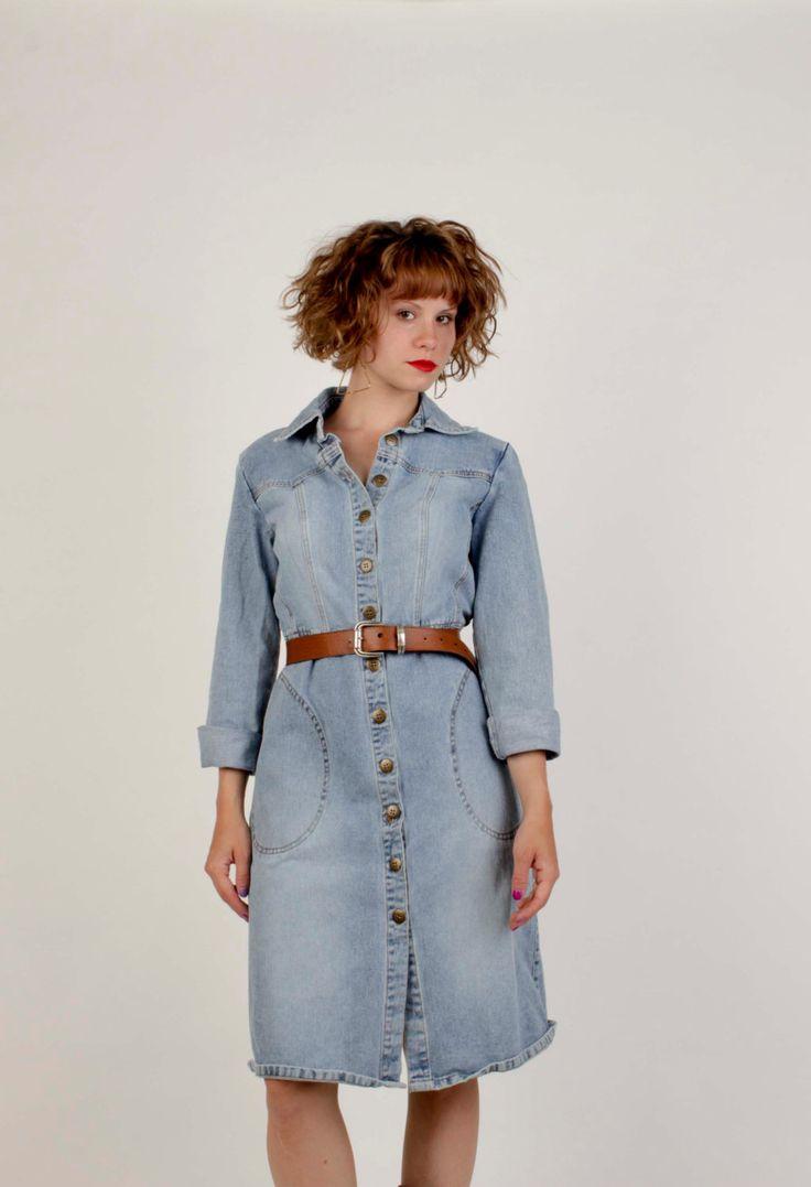 Hip 90's Long Sleeve Denim Button Up Dress By Newport News Jeanology Collection/ Size 10 by VertigoChicago on Etsy