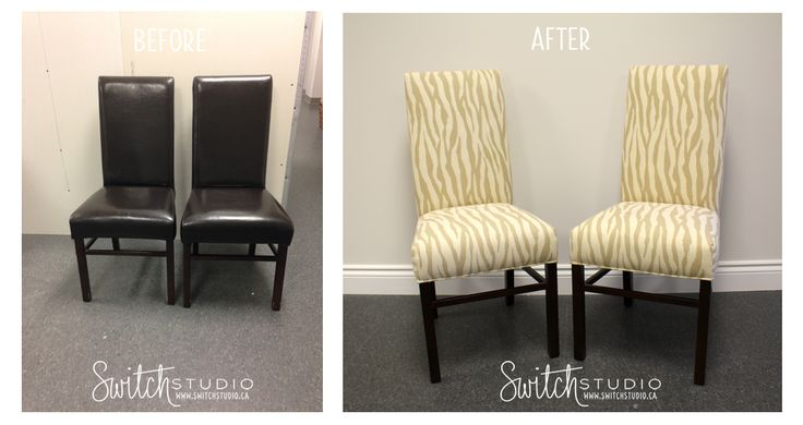 switch studio before afters reupholstered parsons chairs dining room chairs yellow zebra. Black Bedroom Furniture Sets. Home Design Ideas