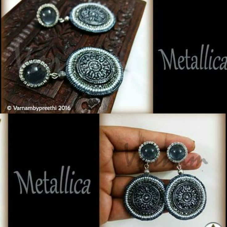 #day18 of #100dayschallenge An earlier version was made in paper and this time we combine clay, paper, rhinestones, seed beads and cabochon studs. Isn't it looking lovely? :) Code name: Metallica Handcrafted paper based earrings with embossed clay work and subsequent antique finish :) #handmadelove #varnambypreethi #metallica #clay #cabochon #antiquefinish #clay #seedbeads #chennai #jewelry #oxidized #accesories