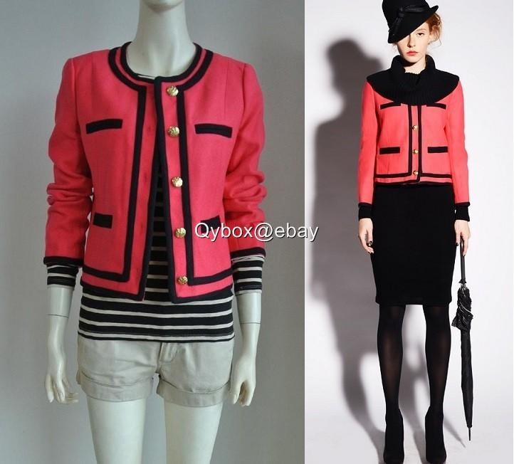 New $258 J Crew Lady Jacket Double Serge Wool Tipped Blazer 4 6 8 Berry Pink | eBay