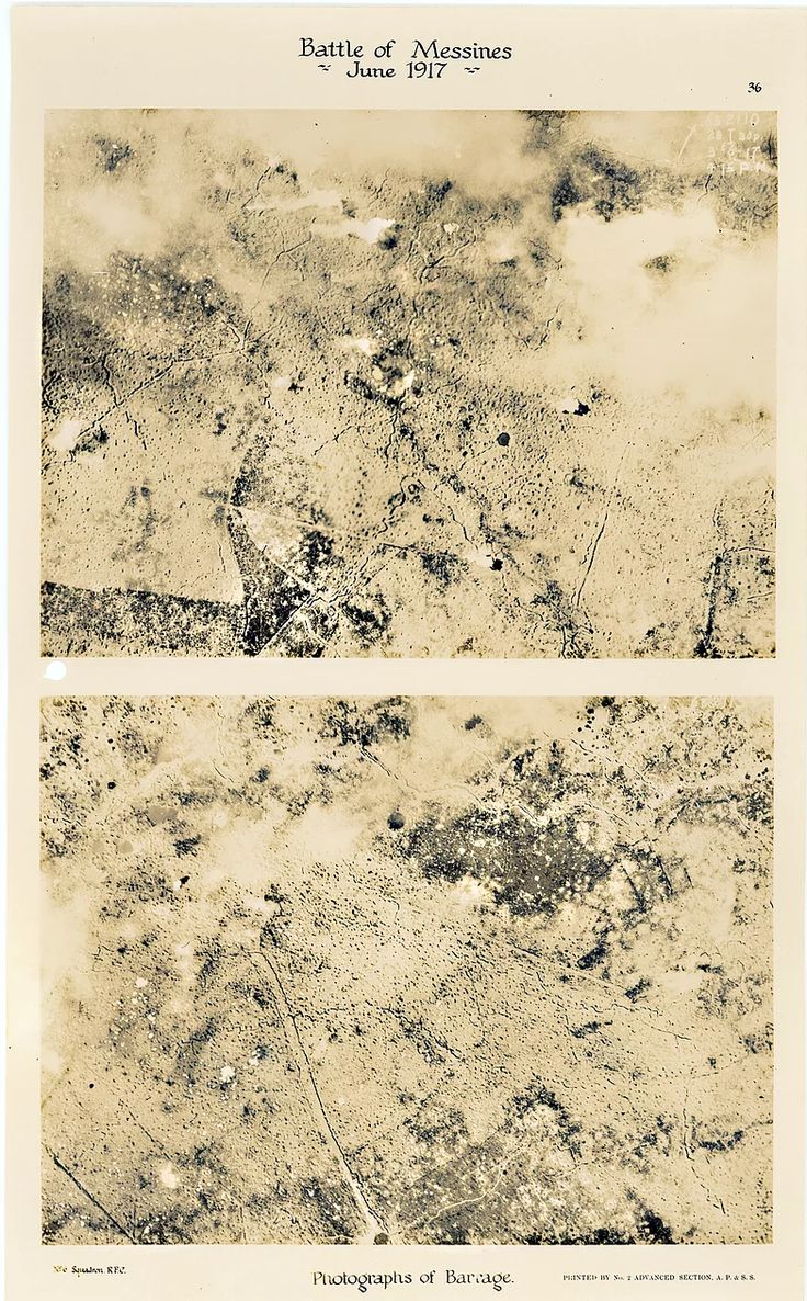 This is page 36 of 43 pages of aerial photos taken by 6 Squadron Royal Flying Corps before and after the Battle of Messines. These two photos were taken to show the impact made by allied bombardment at Vormezele, immediately prior to the Battle of Messines in June 1917.