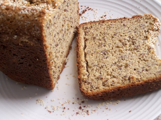 Super healthy Gluten Free High protein bread in your bread maker!! It's got some interesting ingredients, but I'd be willing to try it at least once....