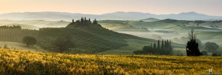 A Touch of Gold - A classic and wonderful misty sunrise among the rolling hills of Val d'Orcia in Tuscany, a UNESCO World Heritage Site.