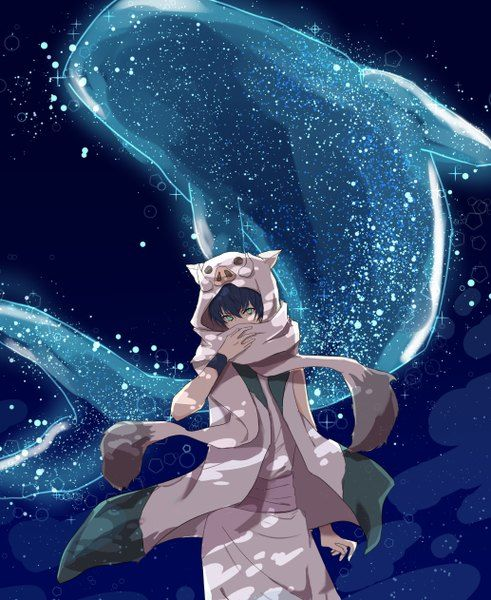 Anime picture 1034x1262 with bakemono no ko ichirouhiko miu (pixiv6604832) single tall image short hair looking at viewer black hair green eyes fringe standing night night sky fang (fangs) covering covering face animal star (stars) scarf boy
