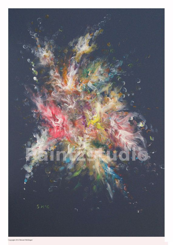 Abstract art painting star burst colour space by Paintzstudio