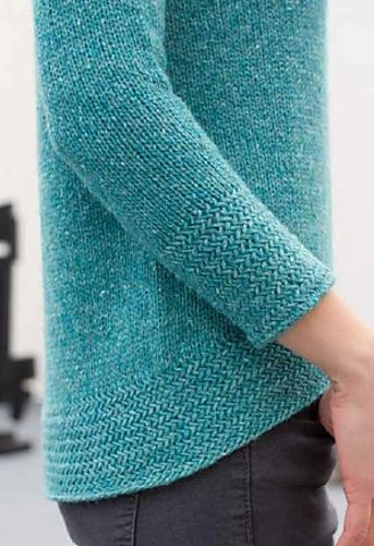Worsted 10ply features textured mock turtle neck and bracelet sleeves. Bottom-up and in the round. Sized: XS - 4X