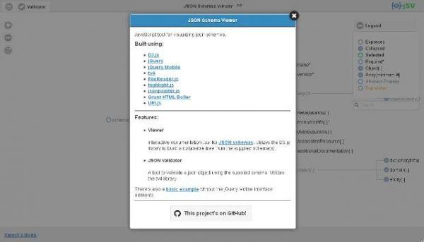 Un outil JavaScript pour visualiser les schémas JSON - json-schema-viewer  Json-schema-viewer est un outil JavaScript pour visualiser et valider les schémas au format JSON.   http://www.noemiconcept.com/index.php/en/departement-communication/news-departement-com/207439-webdesign-un-outil-javascript-pour-visualiser-les-sch%C3%A9mas-json-json-schema-viewer.html