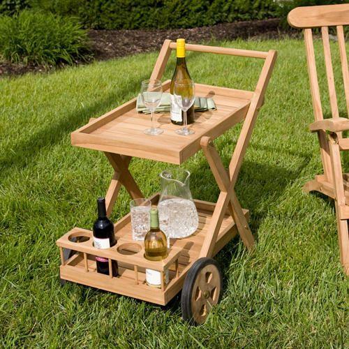 Teak Outdoor Serving Cart