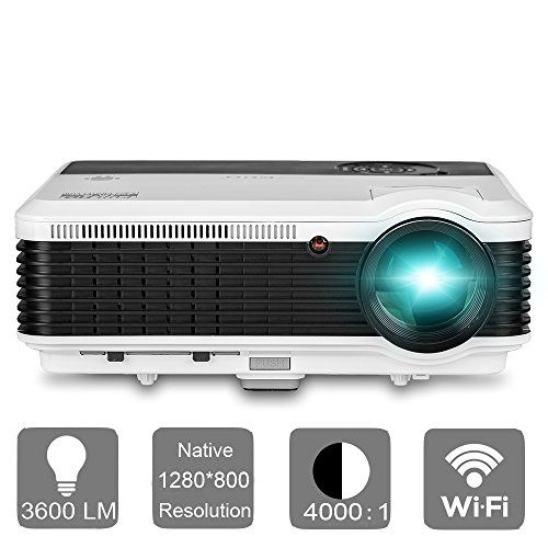 EUG LED Projector with WiFi Android 3600 Lumens LCD 1080P Projectors Wireless Connect iPhone iPad Tablet Smartphone for Home theater Cinema Movies Video Games with HDMI USB VGA Audio TV * For more information, visit image link.