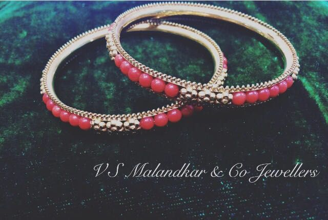 Coral & Gold Bangle Set • 22k gold