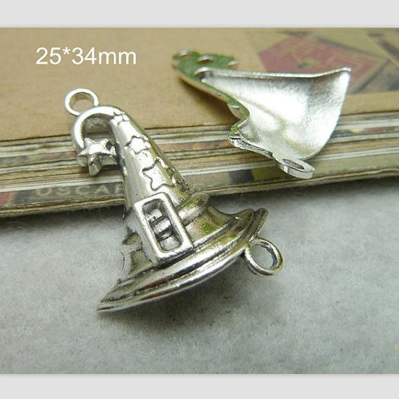 4 Wizard Witch Hat Charms Antique Silver by NewYorkCharmSister