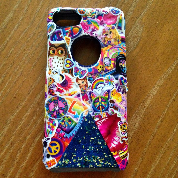 DIY Lisa Frank Otterbox Case!! Every 90's girl's dream LisaFrank Iphone 5C White Otterbox stickers nail polish design