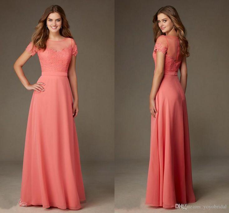 Cheap Modest Designer Coral Lace Bridesmaid Formal Dresses