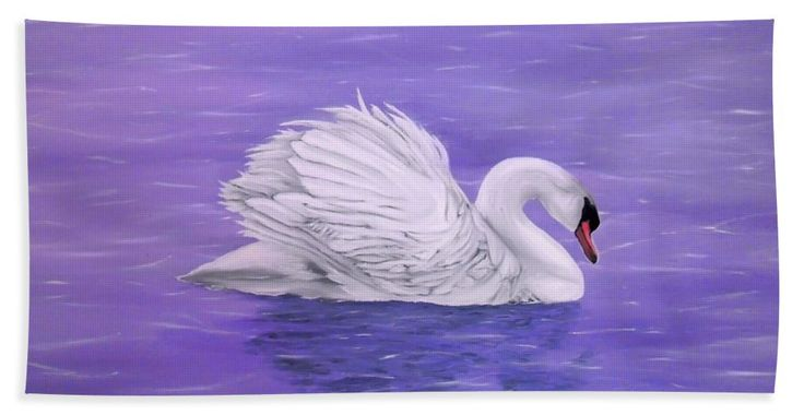 Beach Towel,  purple,lavender,accessories,cool,trendy,fancy,beautiful,unique,awesome,modern,artistic,fashionable,unusual,for,sale,design,items,products,ideas,swan,lake,nature,white,bird