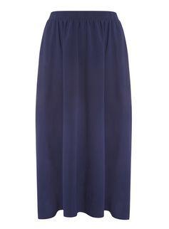 Navy Chiffon Midi Skirt