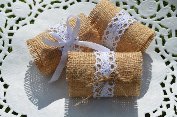 Rustic 10 Burlap Napkin Rings with Lace and Twine  by SeaSunrays, £8.99