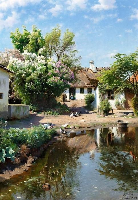 Spring day at a thatched house with blooming lilacs, Oil On Canvas by Peder Mork Monsted (1859-1941, Denmark). So detailed! You can almost smell the lilacs and the pond, hear the ducks and feel the sun.