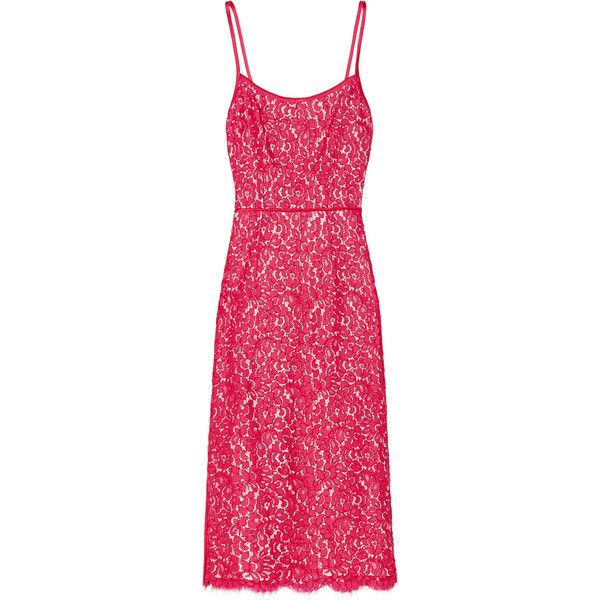 Michael Kors Satin-trimmed cotton-blend lace sheath dress (780 CAD) ❤ liked on Polyvore featuring dresses, michael kors, fuchsia, sheath dress, fuschia pink dress, transparent dress, sheer pink dress and scalloped lace dress