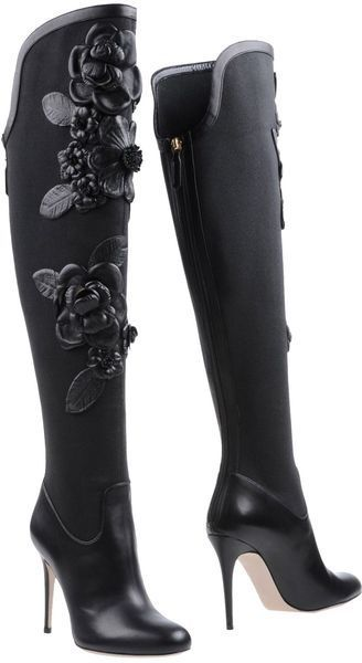 Valentino black leather floral knee high boots *Visit best shoes, boots heels ♡ ** to be added just comment or follow the board!**