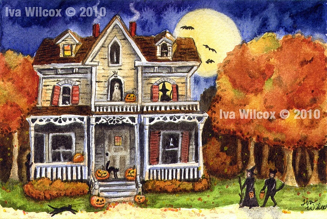 It's Halloween!: Paintings On Canvas, Canvas Ideas, Fall Ideas, Art Journals, Halloween Watercolor, Fall Halloween Al Holidays, Treats Prints, Prints Paintings, Halloween Ideas
