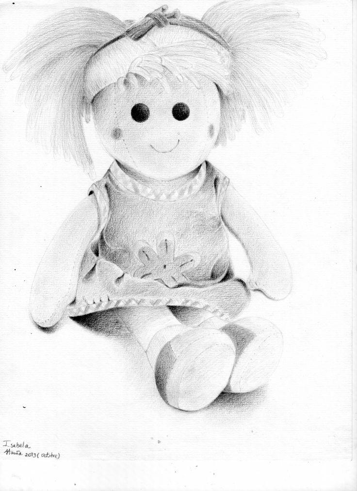 Dibujo de Isabella. Muñeca de trapo. Lápiz sobre papel.