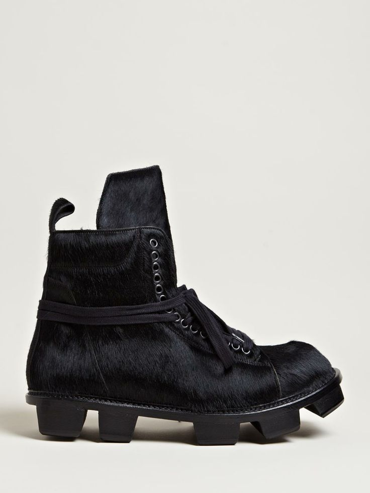 Rick Owens Men's Low Pony Skin Plinth Boots