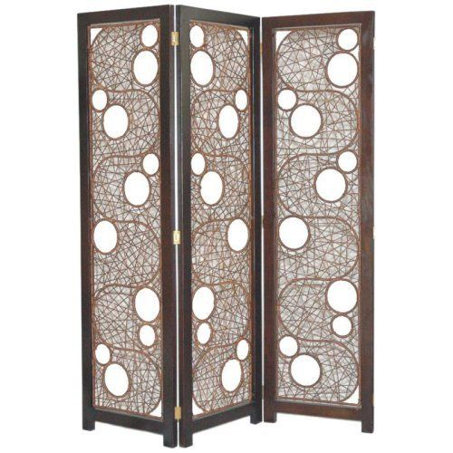 Rattan Room Divider With Geometric Panels. Product: Room  DividerConstruction Material: Rattan And HardwoodColor: Dark  EspressoFeatures: Contemporary ...