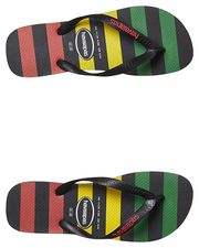 HAVAIANAS KIDS PRINTS STRIPES RASTA THONG - BLACK RED