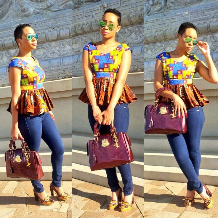 nice denim paired with an african pepulm detail
