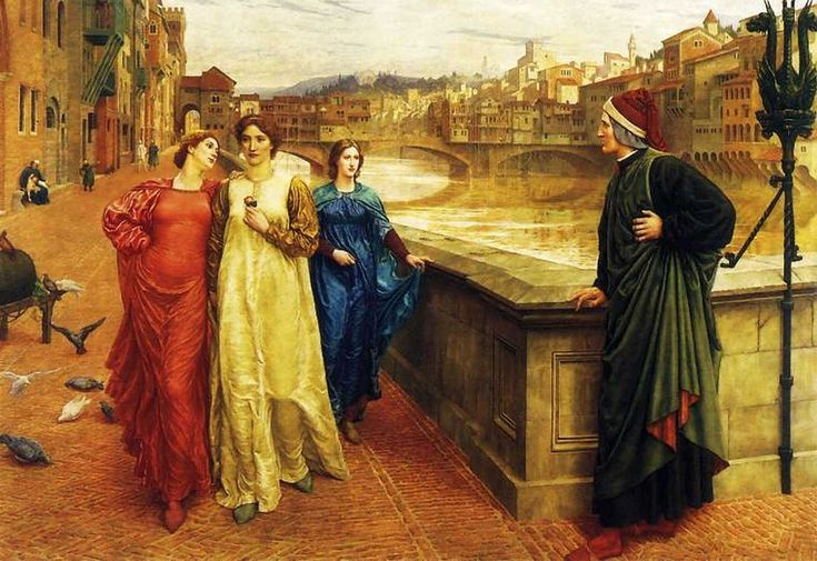 Dante and Beatrice, by Henry Holiday. Dante looks longingly at Beatrice (in yellow) passing by with friend Lady Vanna (red) along the Arno River