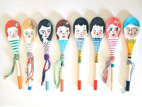 SOOOO CUTE!!! GREAT GIFT IDEA!!! Personalised decorative wooden spoon hand by JessQuinnSmallArt, £15.75