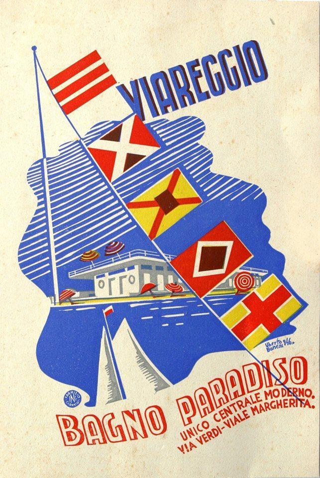 Uberto Bonetti: Manifesto-réclame per il BAGNO PARADISO (1946: la prima stagione balneare dopo la seconda guerra mondiale; fa parte della DONAZIONE BONETTI conservata alla GAMC Lorenzo Viani)