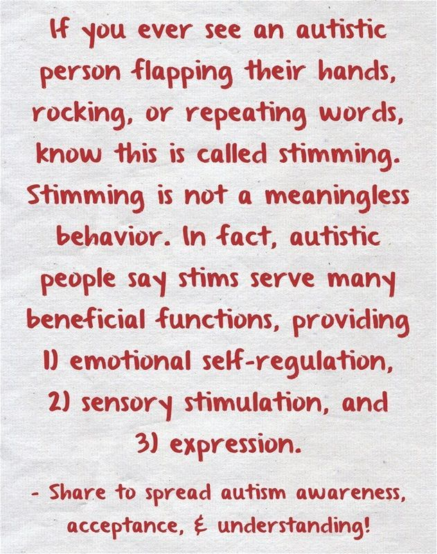 """Stimming,"" or self stimulation, is a repetitive motion or sound that autistic…"