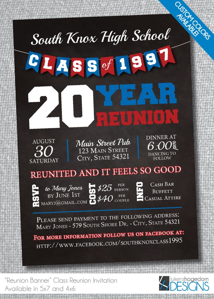 A personal favorite from my Etsy shop https://www.etsy.com/listing/265136939/chalkboard-class-reunion-invitation-with