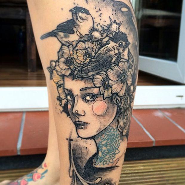 tattoo friday retratos neotradicionais mulheres Anki Michler sketches