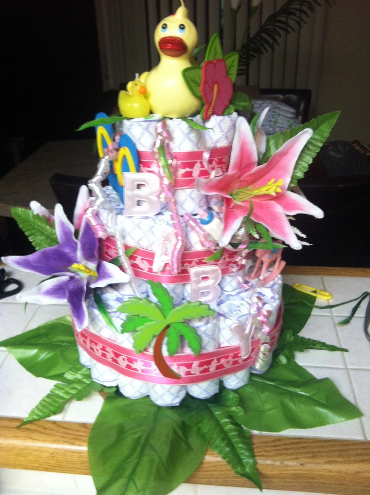 Aloha Baby Shower Centerpiece Hawaiian Diaper Cake ...