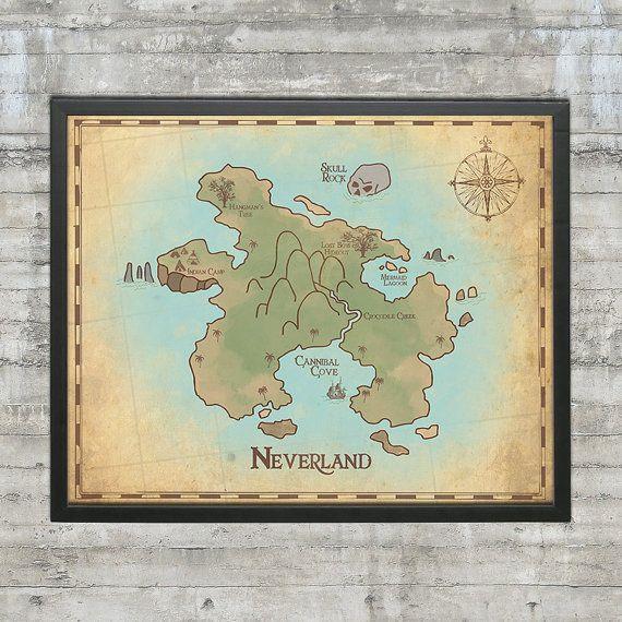 Peter Pan Nursery, Neverland Map, Map of Neverland, 20x16 Nursery Art Print, Neverland Series