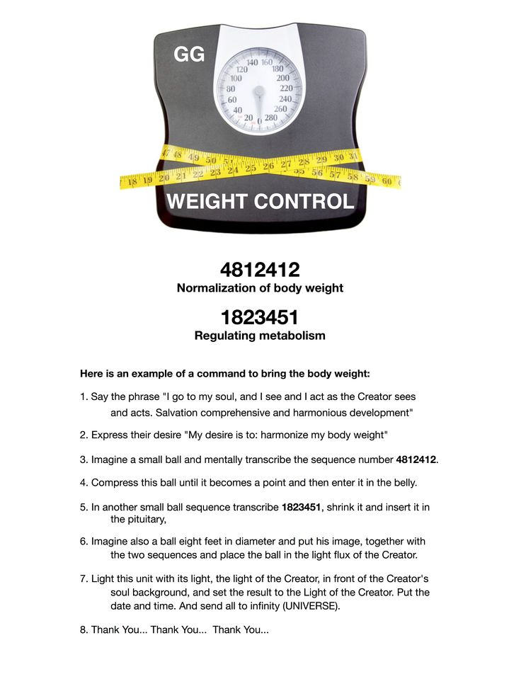 Grabovoi number sequence for weight control.
