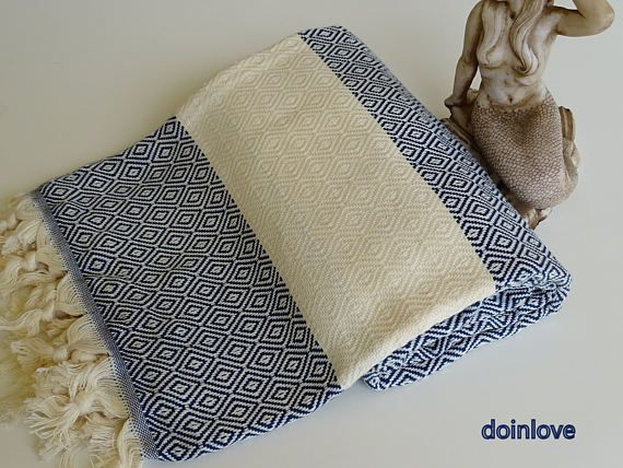 Turkish peshtemal navy blue colour soft cotton bath towel