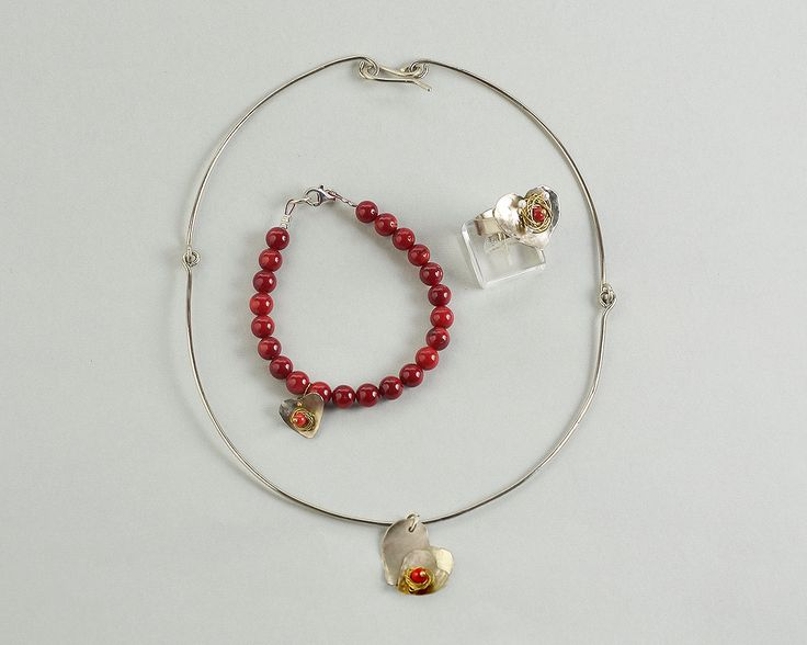 Valentines silver tone set, alpaca necklace ring and bracelet, alpaca jewelry, red coral jewelry set, gift for her, dainty jewelry set by ColorLatinoJewelry on Etsy