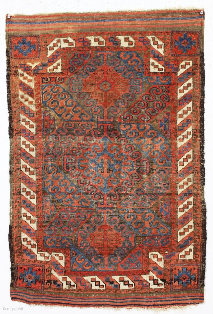 antique tiny baluch rug. Unusual double ended mushwani type baluch in good  condition for a