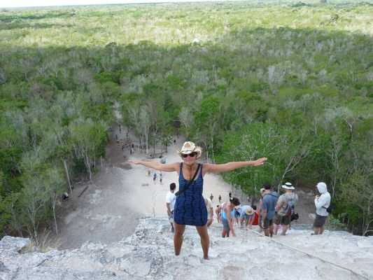 view of the jungle from the top of Nohoch Mul pyramid in Coba