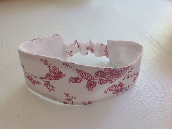 Girls pink and white reversible cotton and stretch headband, reversible hairband