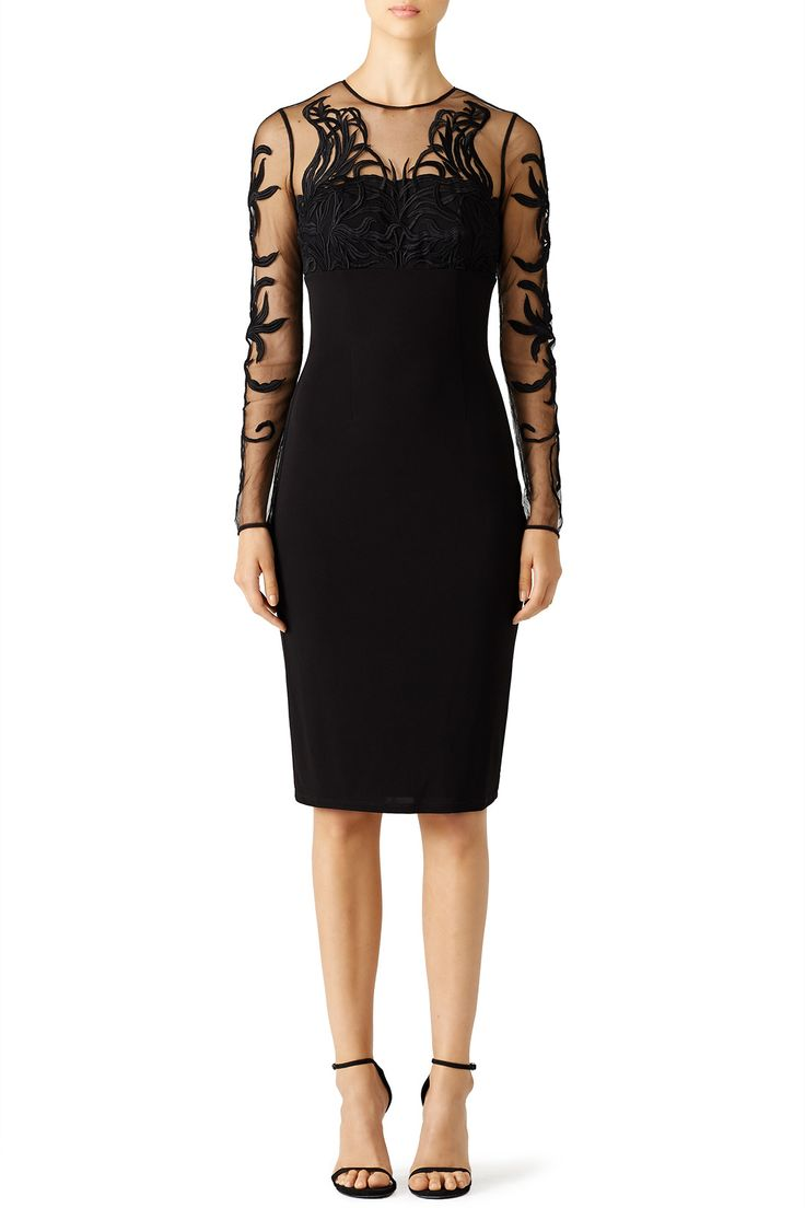 Black Garden Mesh Sheath by David Meister | Rent the Runway.